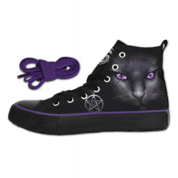 SPIRAL DIRECT Black Cat  Ladies Gothic High Top Sneakers